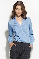 Camasa eleganta, de culoare bleu, cu doua buzunare aplicate ( )