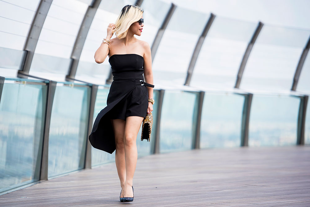Crystal Phuong- Fashion Blogger- Revolve Clothing- NBD Black Romper