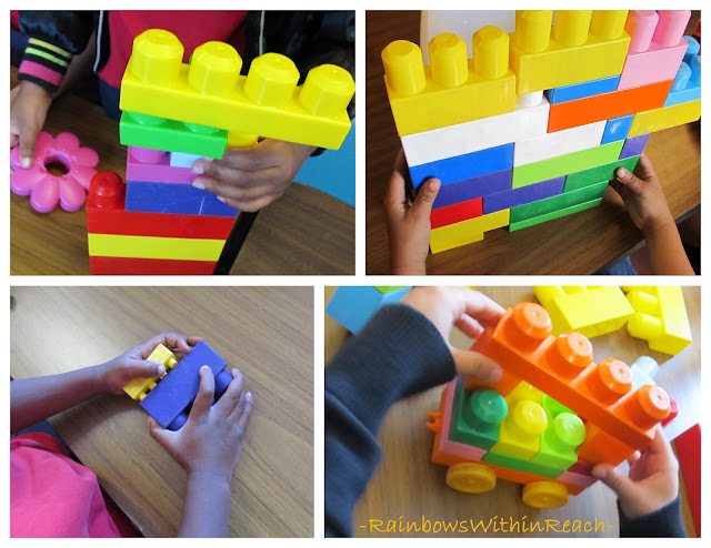 photo of: fingers build with over-sized, colorful building blocks