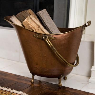 copper firewood basket