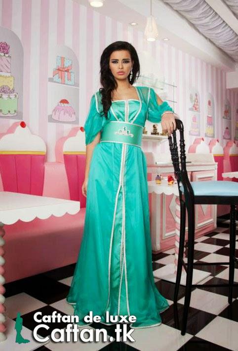 Caftan haute couture vert d'eau 2014