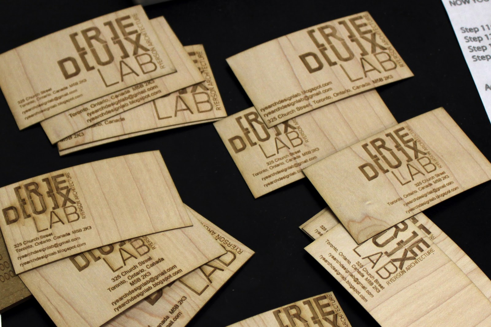 Redux lab ryerson university architectural science design lab to finish off the consistency the redux lab team decided to add some business cards for both the team and woodlot burned on wood veneer for lucky colourmoves