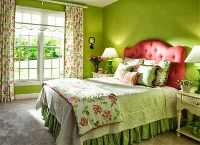desain kamar tidur warna hijau cerah rumah idaman