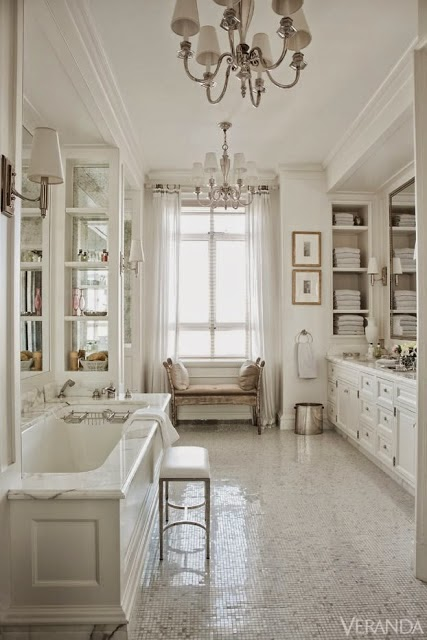 beautiful room - traditional style white master bathroom glass tile floor