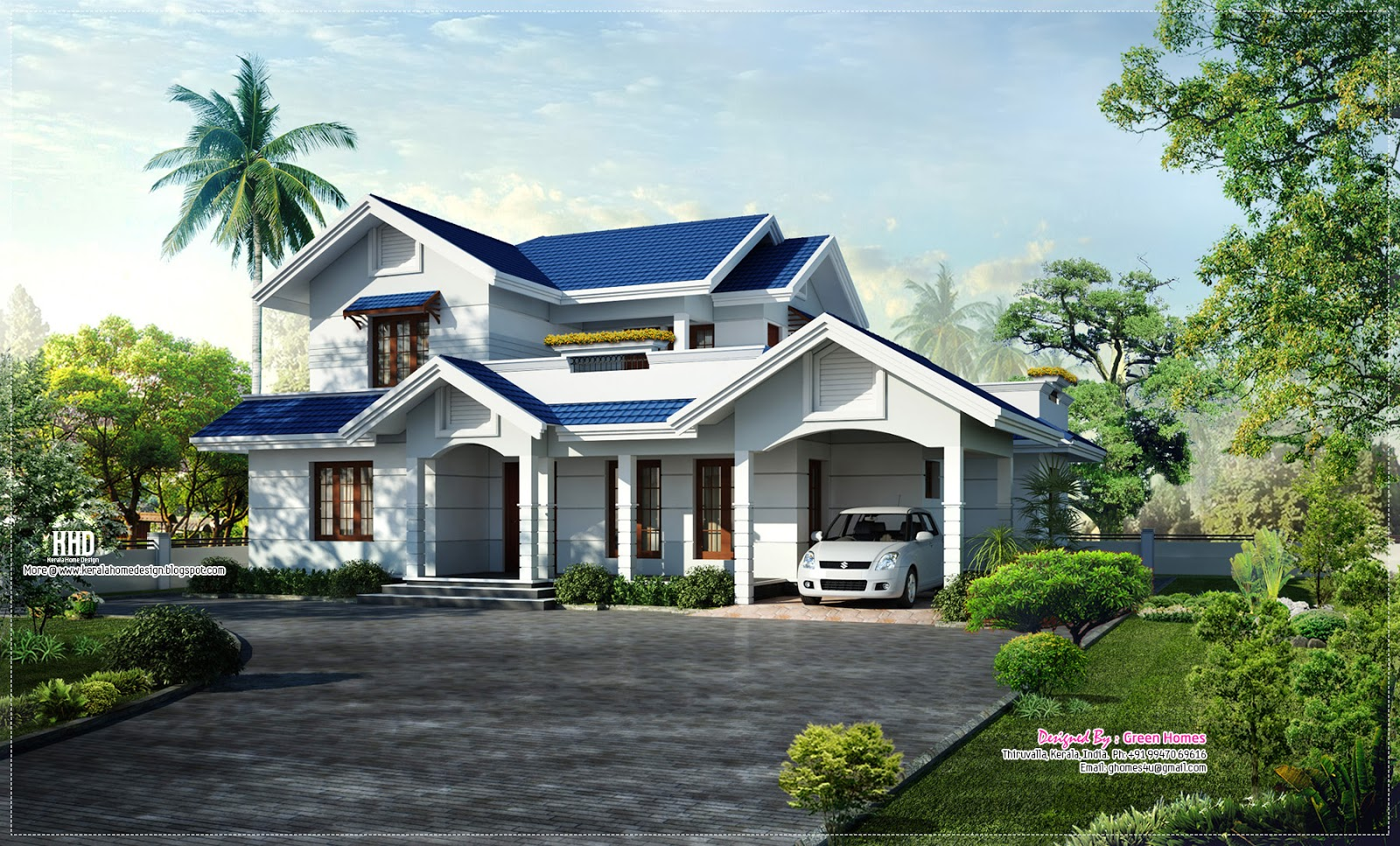 Eco friendly houses beautiful blue roof villa elevation for Beautiful villas images