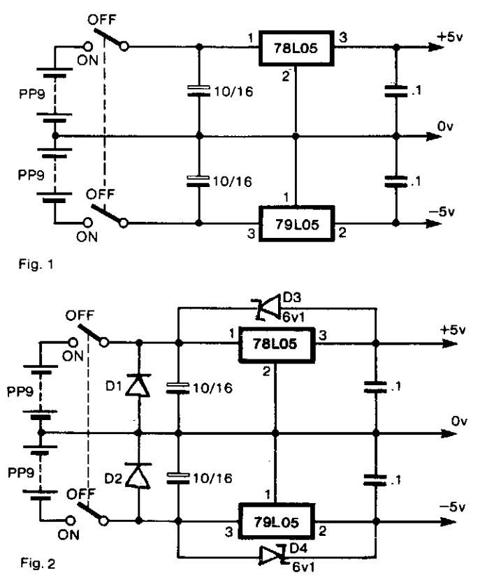 Bipolar Power supply for Battery Instruments Circuit Diagram