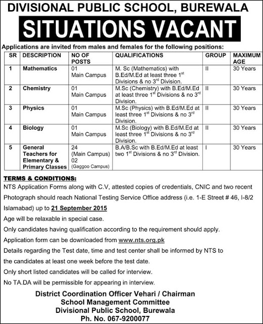 Teaching Jobs in Divisional Public School Burewala