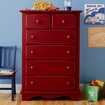 Kidu0027s Red Cottage Style Tall Dresser