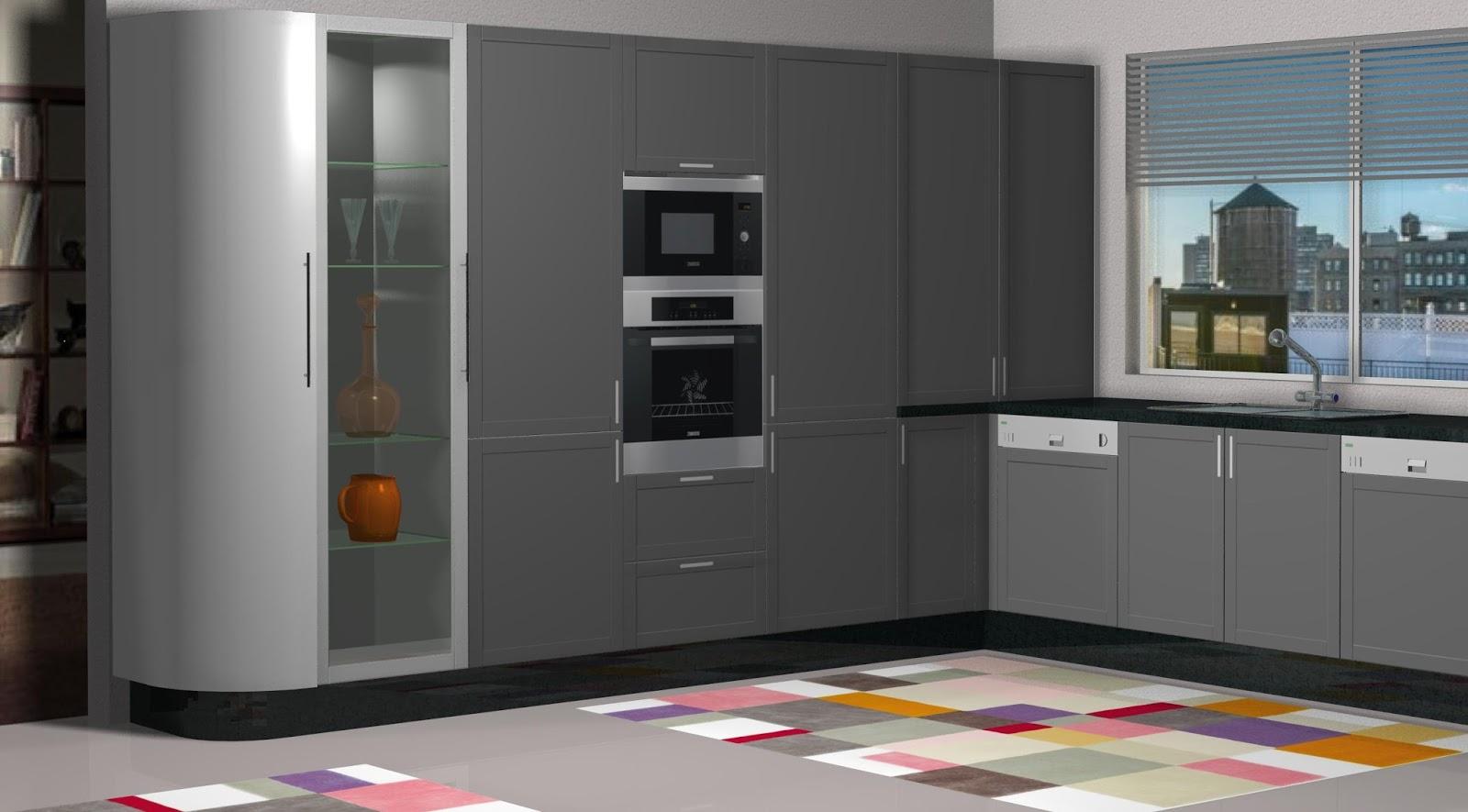Dise o muebles de cocina dise o de cocina lacada en for Muebles de cocina gris