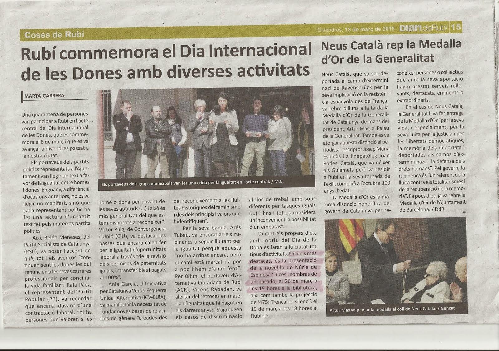 Destacan la noticia de la presentación de mi novela en el Diario de Rubí