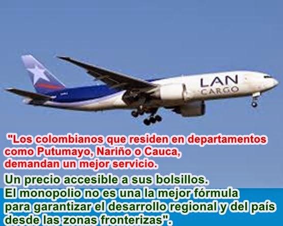 """COLOMBIA: """"Suspensión de vuelos de LAN al Putumayo, retrasa su desarrollo"""": senador Manuel Enríquez"""