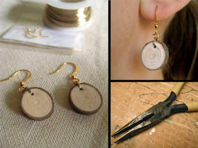 diy, wood earrings, maple tree branch