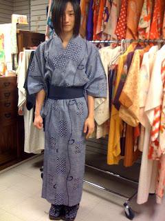 Japanese Yukata Kimono on a young man at Kimono House NY