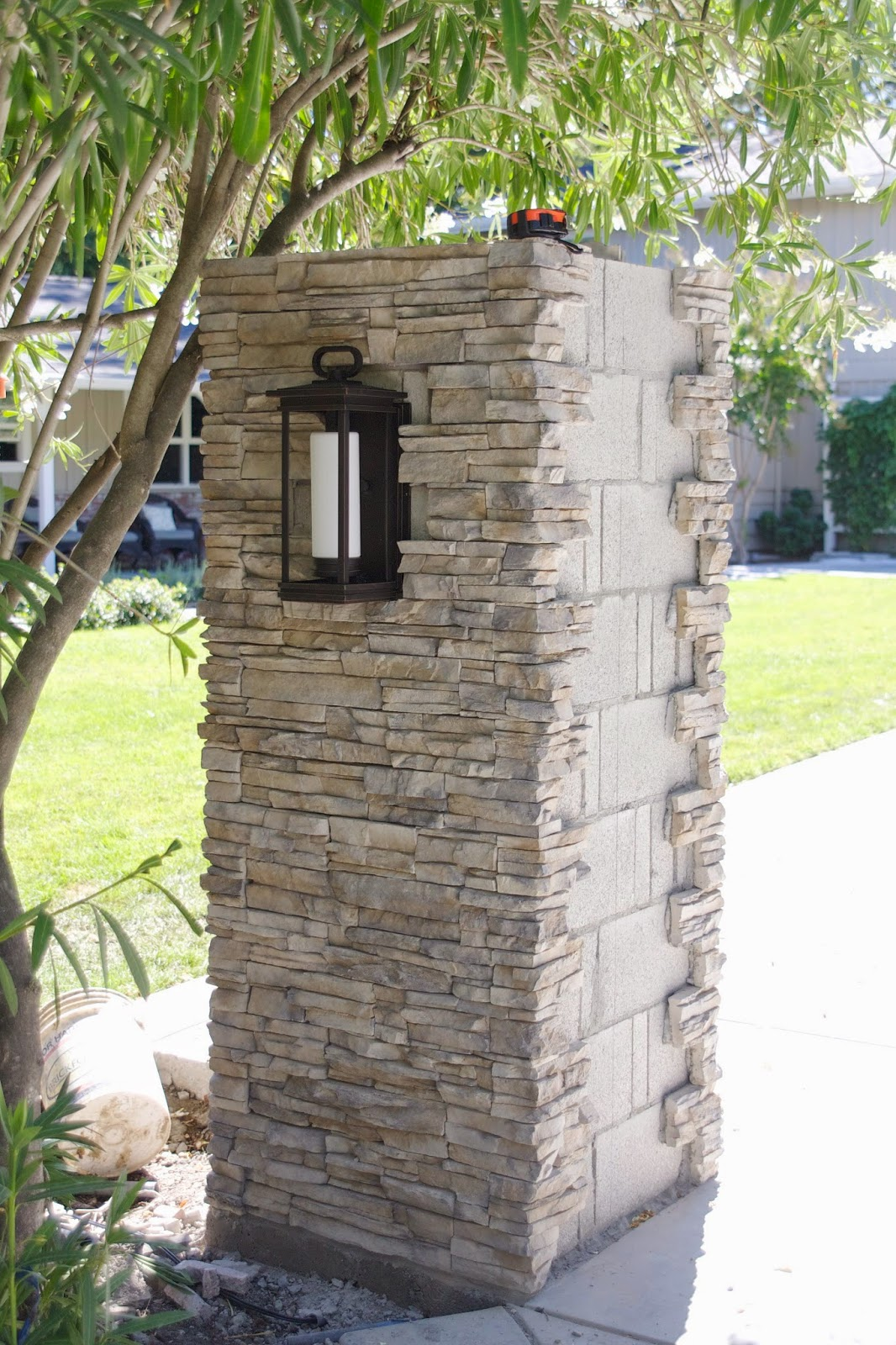 Stone Pillar Lighting : Simply organized outdoor update stacked stone pillar