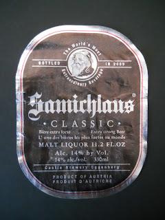 etiqueta de la cerveza de temporada austriaca Samichlaus