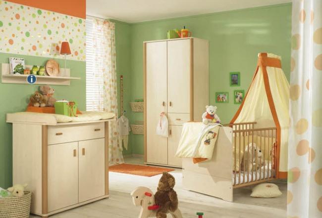 Cuarto de bebé con paredes verdes - Dormitorios colores y ...