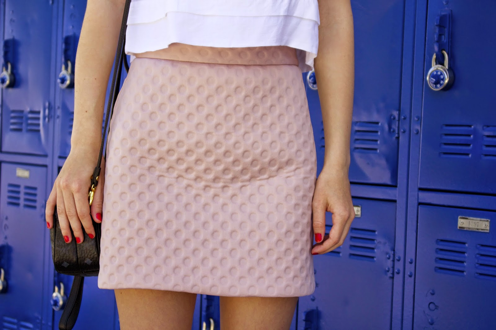 what i wore, topshop embossed skirt, scuba skirt, pink skirt, topshop crop tank, nike free, nike cheetah print, nike nordstrom anniversary sale, sneakers, back to school fashion,