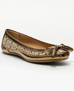 brown metallic coach flats
