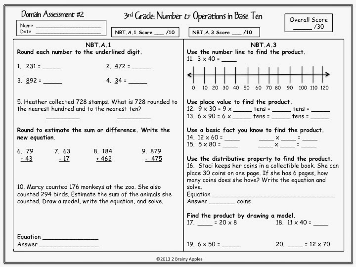 Brainy Apples December 2013 – Number and Operations in Base Ten Worksheets