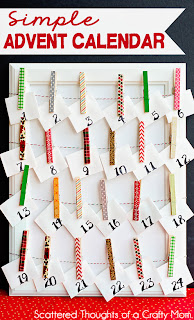 Make an Easy Advent Calendar using clothespins and washi tape. #advent #washitape #craft
