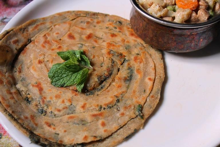 Mint Paratha Recipe / Pudhina Paratha Recipe - Recipe collection