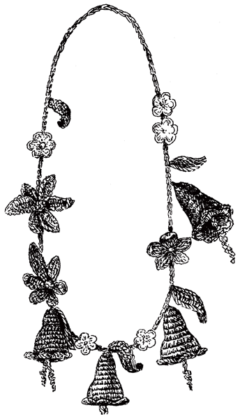 Бусы из вязаных колокольчиков и цветов