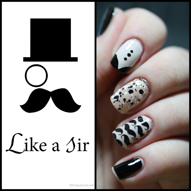 Manicurity | Jamberry Nails Mo Mo pattern shield wrap (Like a Sir)