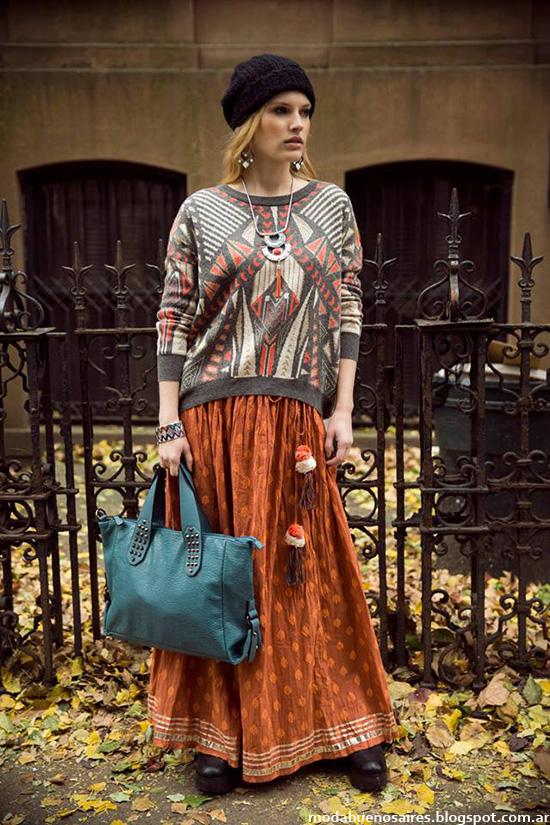 India Style otoño invierno 2014 maxifaldas de moda.