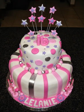 Pink and Purple Shooting Star Cake