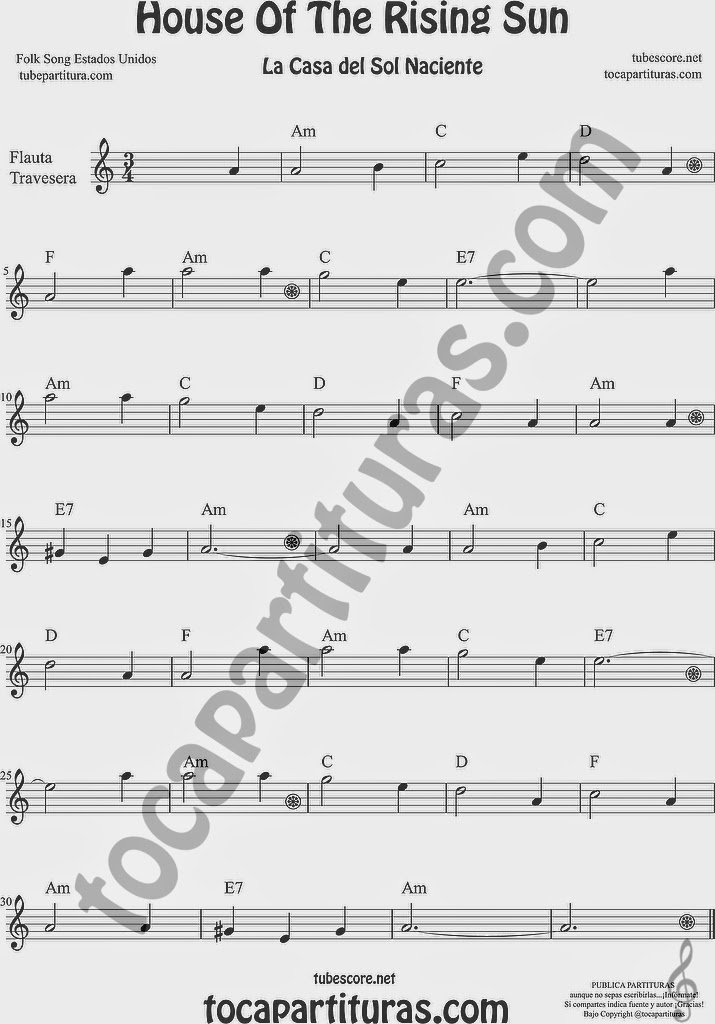 House of the Rising Sun Partitura de Flauta Travesera, flauta dulce y flauta de pico Sheet Music for Flute and Recorder Music Scores La Casa del Sol Naciente