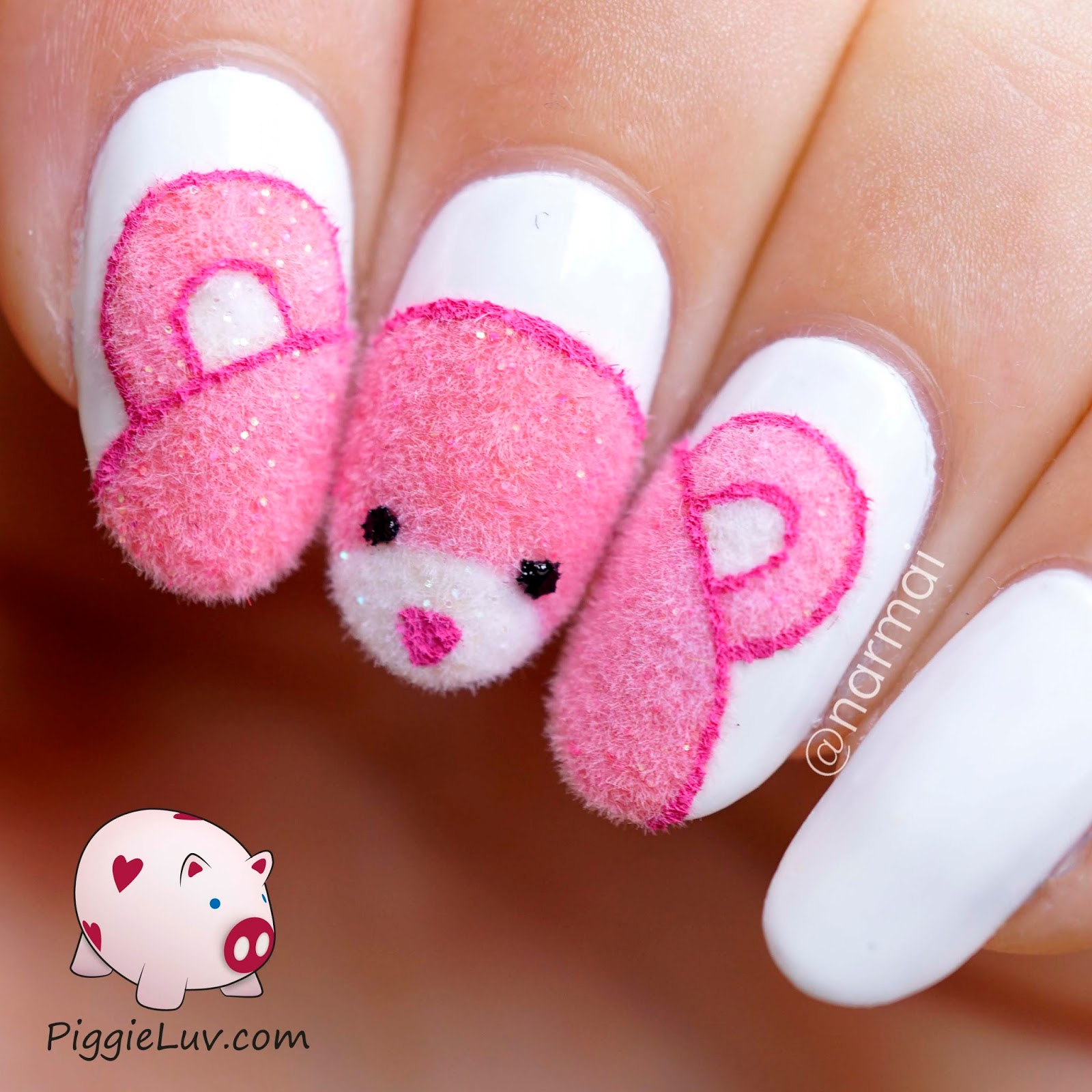 Piggieluv fuzzy pink teddy bear nail art my bestest of nail friends marlein made a little bear like this a while ago and i thought it was so adorable prinsesfo Gallery