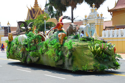 Animal float in Funeral procession of King Norodom Sihanouk, Phnom Penh, Cambodia