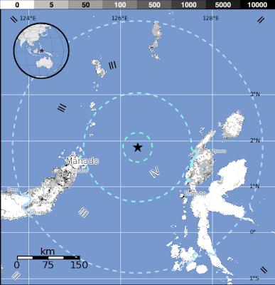 Epicentro sismo 5,3 grados en mar de Molucas