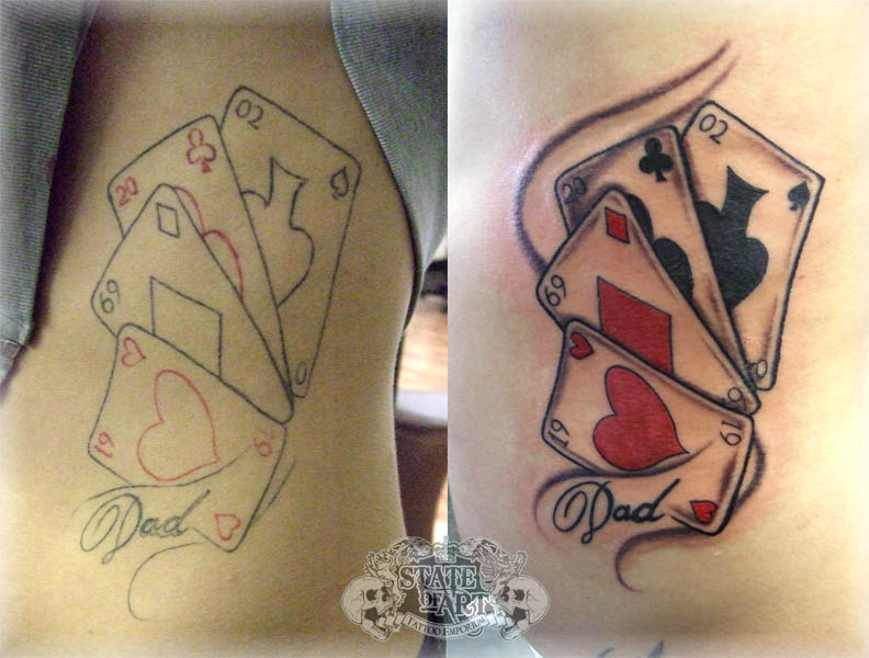 playing cards tattoo designs photos art tattoos designs. Black Bedroom Furniture Sets. Home Design Ideas