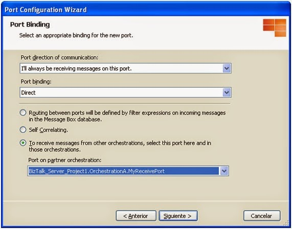 Configure BizTalk Direct Binding Partner Port - Step 3
