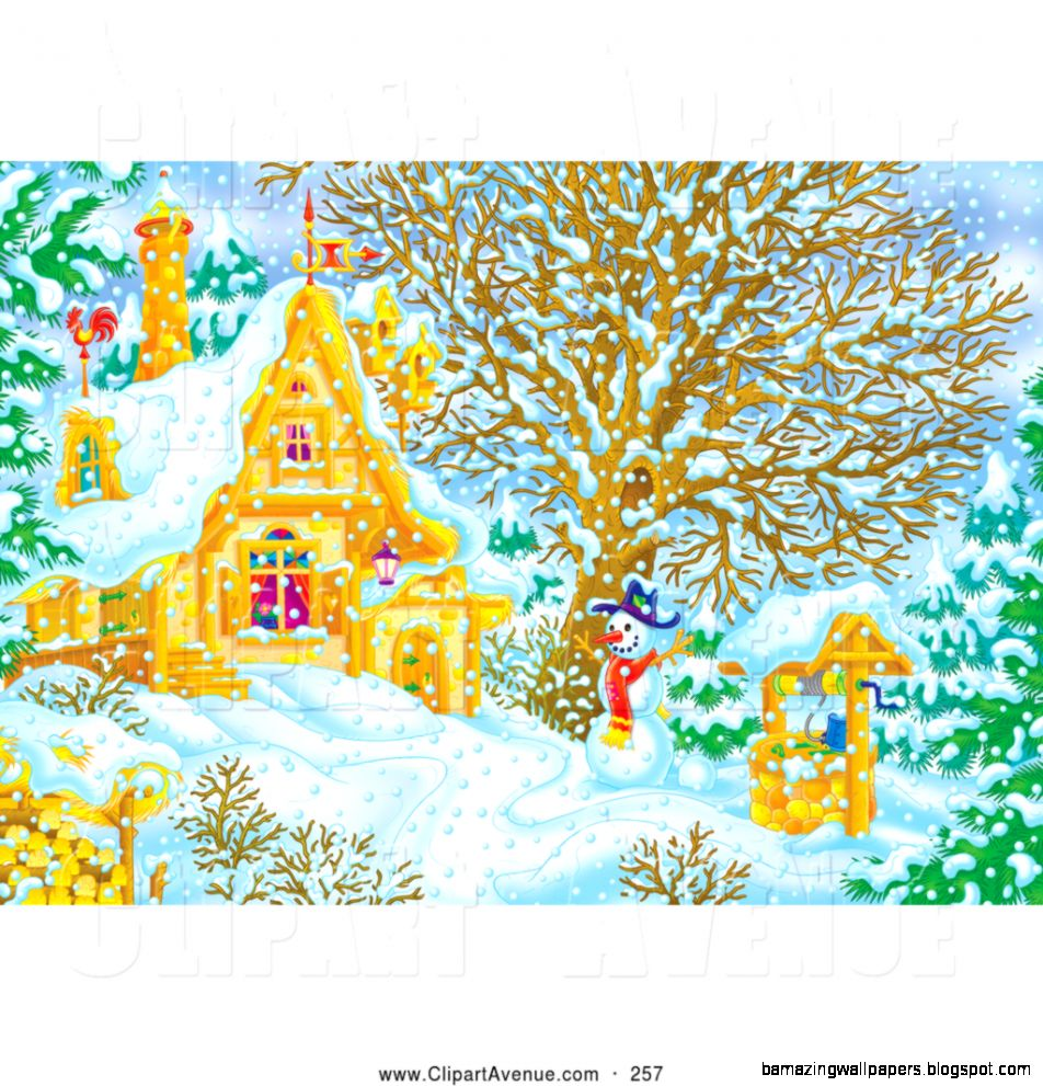 Avenue Clipart of a Snowman Beside a Well near a Home on a Snowy
