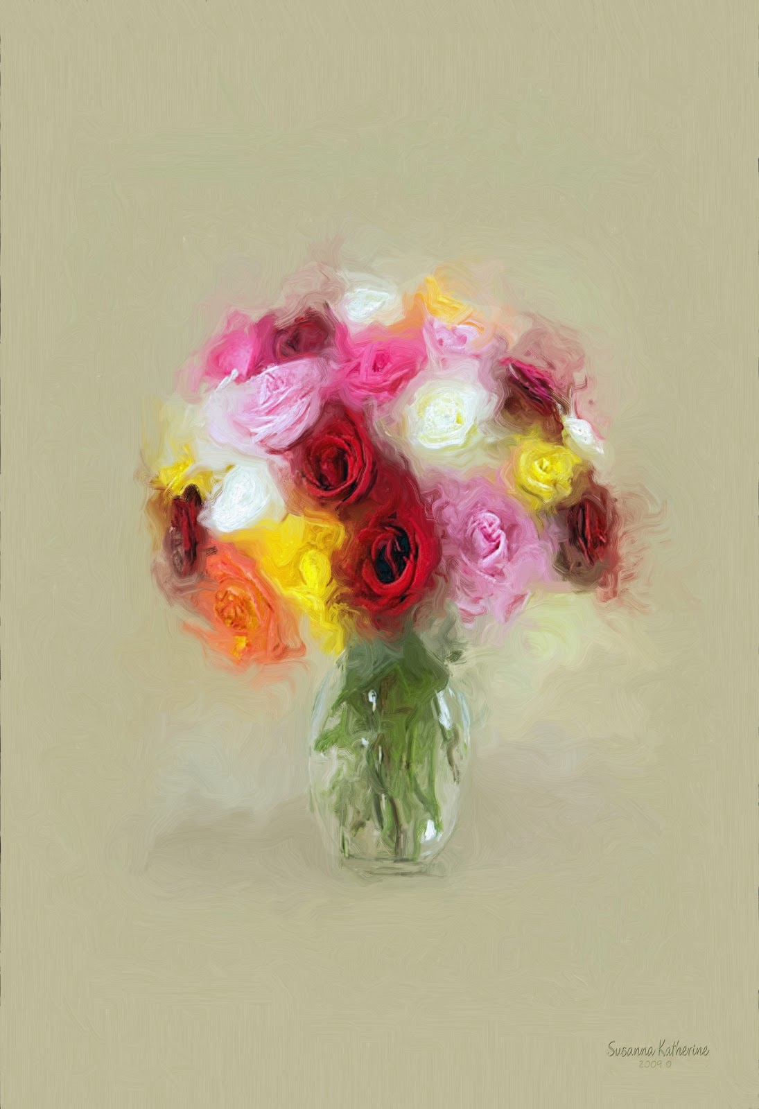 Of artists original unusual art rose flowers in a clear vase
