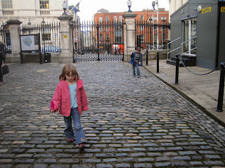 Children inside Dublin Castle grounds