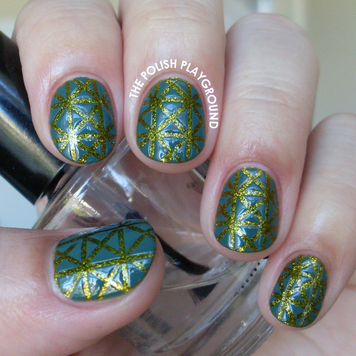 Teal on Green Geometric Striping Tape Triangles Nail Art