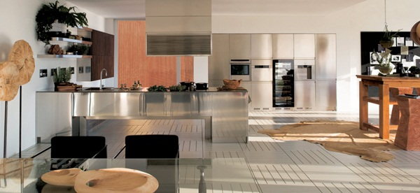 Modern Stainless Steel Kitchen Designs Flexible and Durable