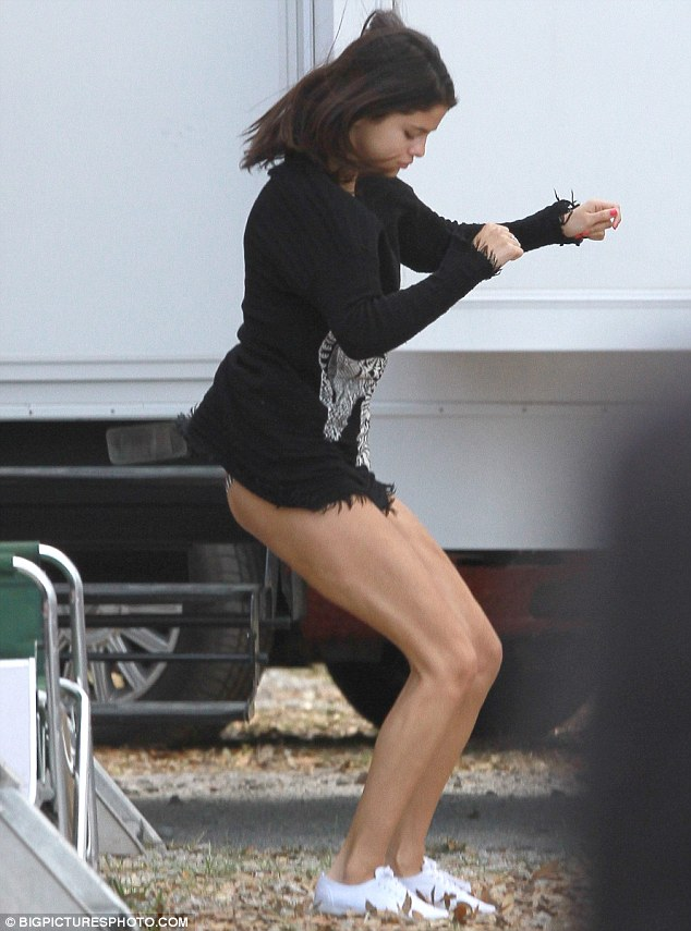 Selena Gomez Paraded Her Pins In A Tiny T Shirt Style Dress On The Set Of Spring Breakers In Florida Yesterday