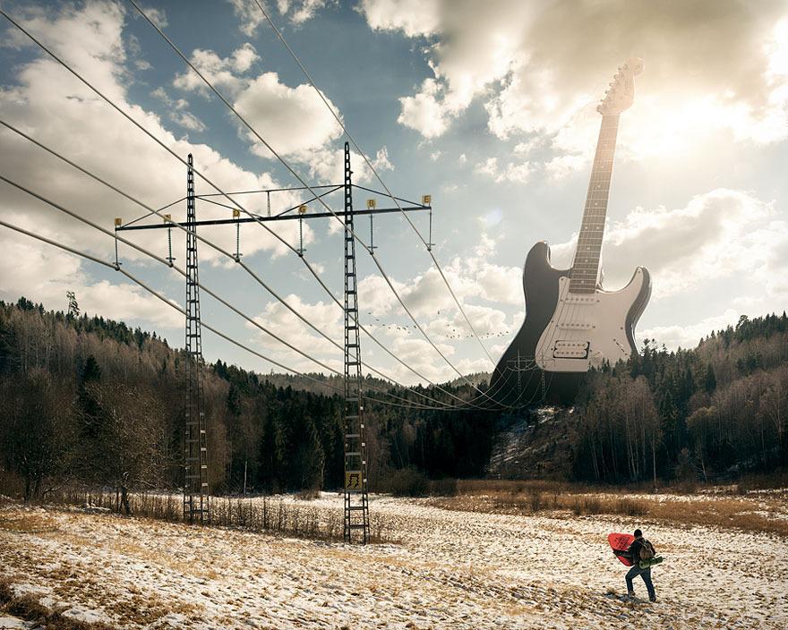 Guitarra eléctrica foto de fantasía surrealista