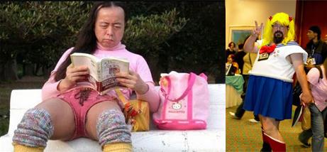 Señores mayores con ropa de colegiala japonesa