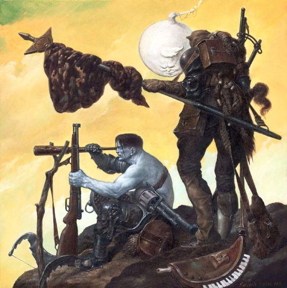 Viktor Safonkin pinturas surreais sombrias medievais mitológicas religião subconsciente Esperando a primavera