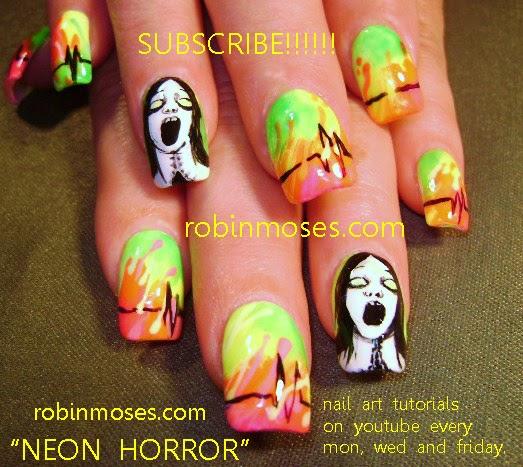 Robin Moses Nail Art February 2015: Robin Moses Nail Art: NEON RAINBOW PABLO PICASSO NAIL Art