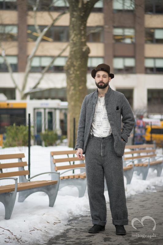 DJ Mike Nouveau wears Paul Harnden at New York Fashion Week 2014