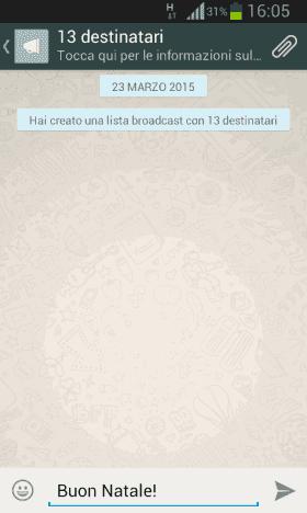 Comporre e inviare nuovo messaggio broadcast WhatsApp