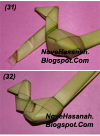 langkah-langkah membuat kerajinan tangan anak berbentuk ayam yang lucu dari bahan alami janur kelapa 9