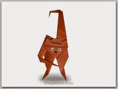 Cách gấp, xếp con vượn bằng giấy origami - Video hướng dẫn xếp hình động vật - How to fold a Gibbon