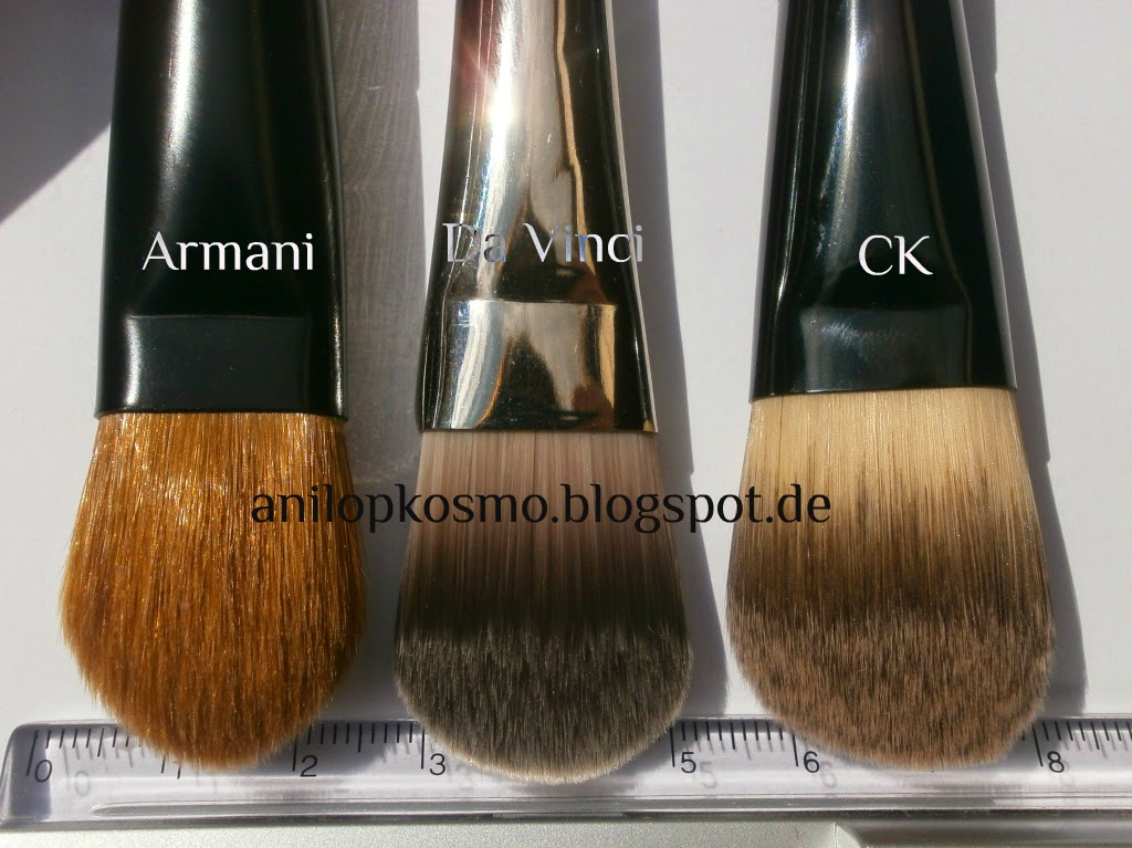 Armani кисть для тональной основы, отзыв, сравнение, свотчи, Да Винчи кисть для тональной основы, CK foundation brush